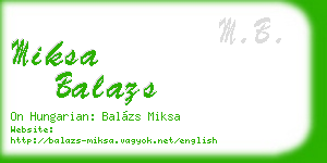 miksa balazs business card